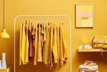 Vivid Yellow Wardrobe With Clo...