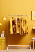 Creative Clothes On Rack In Bright Room