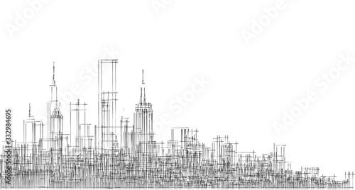 Fotografiet modern city panorama 3d illustration