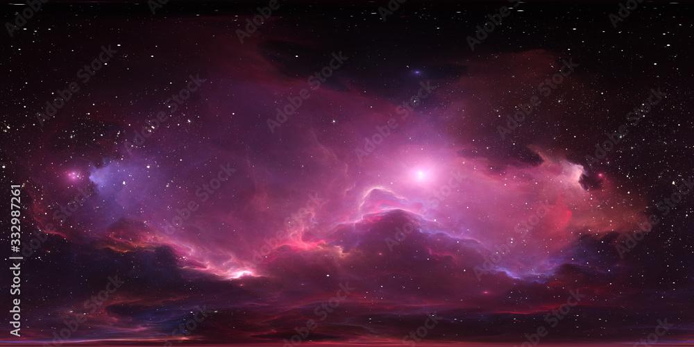 Fototapeta 360 degree stellar system and glowing nebula. Panorama, environment 360 HDRI map. Equirectangular projection, spherical panorama