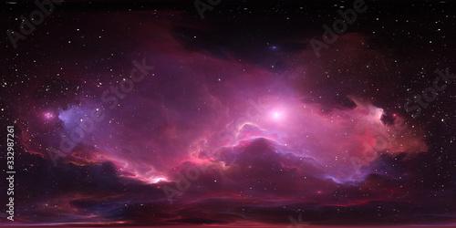 Fototapeta 360 degree stellar system and glowing nebula. Panorama, environment 360 HDRI map. Equirectangular projection, spherical panorama obraz