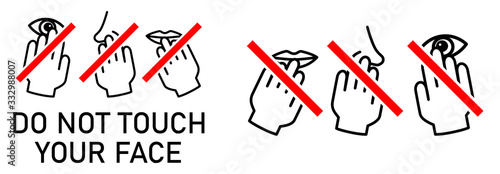 Fotomural Set of do not touch your face icon