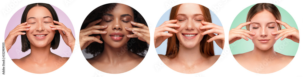 Fototapeta Beautiful multiethnic women with clean skin in circles
