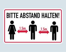 Bitte Abstand Halten - German For Please Keep Distance 1,5 Meter