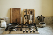 Vintage Kitchenware On Gas Sto...
