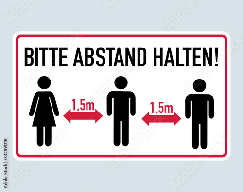 Foto Bitte Abstand halten - German for Please keep distance 1,5 meter