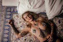 Spiritual Lady Sleeping On Bed