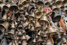 Closeup Of A Group Of Hanging Bells In A Nepalese Temple