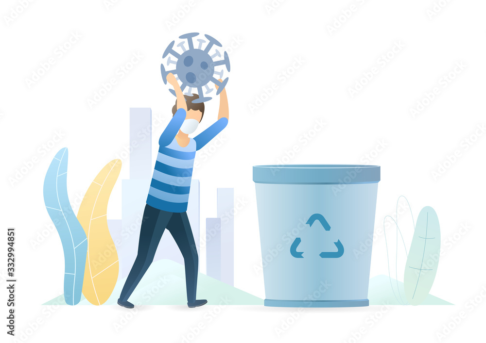 Fototapeta Man throws a coronavirus bacterium into a trash can. Invention of the vaccine. Epidemic MERS-CoV virus 2019-nCoV. Vector flat illustration concept on white background.