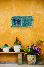 Yellow Stained Wall And Three ...