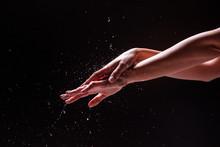 Crop Hands Of Woman Under Spla...