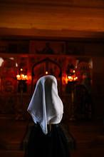 Little Girl Praying In The Russian Orthodox Church