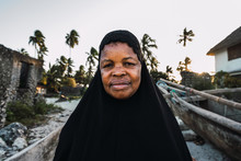 Portrait Of A Muslim Zanzibari Senior Woman Wearing A Black Hiyab.
