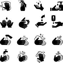 Hand Sanitizer Icons - Black S...