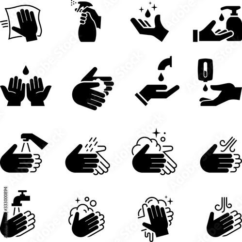 Obraz Hand Sanitizer Icons - Black Series - fototapety do salonu