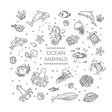 Set Of Sea Or Ocean Animals Ic...