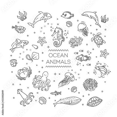 Set of sea or ocean animals icons.Vector illustration Wallpaper Mural