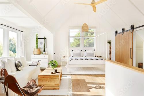 Beautifully designed modern farmhouse bedroom - 333004260