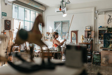 Artist Woman Drawing In Her St...