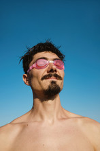 Man In Swimming Goggles Summer...