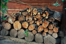 Dry Wood Logs Stacked In Neat ...