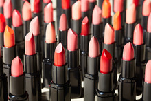 Shiny Tubes Of Lipstick In Dif...