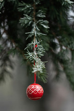 Red Hand Painted Christmas Bal...