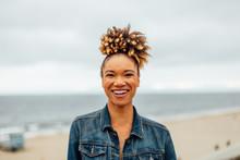 Woman At An Overcast Beach