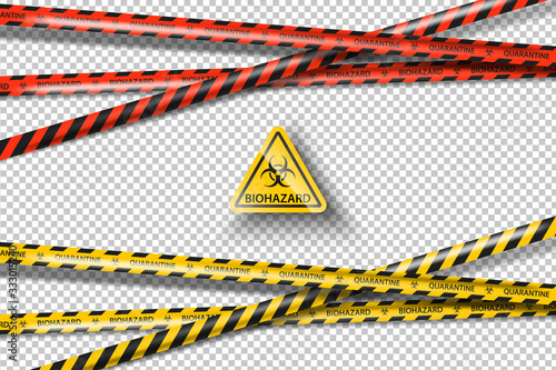 Valokuva Vector biohazard danger yellow black tape isolated on transparent background