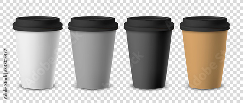 Fototapeta Vector 3d Realistic Disposable Closed Paper, Plastic Coffee Cup for Drinks with Black Lid Set Closeup Isolated on Transparent Background. Design Template, Mockup. Front View obraz