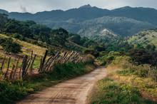 Countryside Gravel Road Through The Mountains