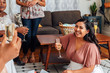 Hispanic Woman Sitting a Party