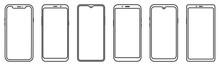 Smartphone Outline Set. Mobile...