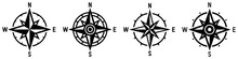 Compass Icon Set. Wind Rose Sy...