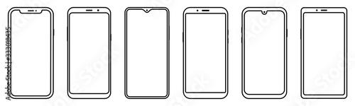 Foto Smartphone outline set. Mobile phone. Vector