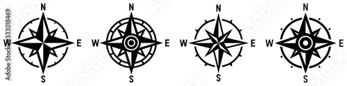 Compass icon set. Wind rose symbol. Vector Canvas-taulu