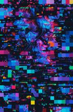 Dark, Vibrant Floral Pixel/gli...