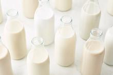 Bottles Of Various Plant Milk