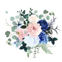 Classic Blue Rose, Pink Hydran...