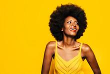 Happy Afro Woman Posing Over Y...