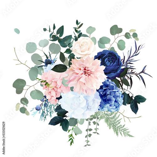 Fototapeta Classic blue rose, pink hydrangea, ranunculus, dahlia, thistle flowers, emerald greenery obraz