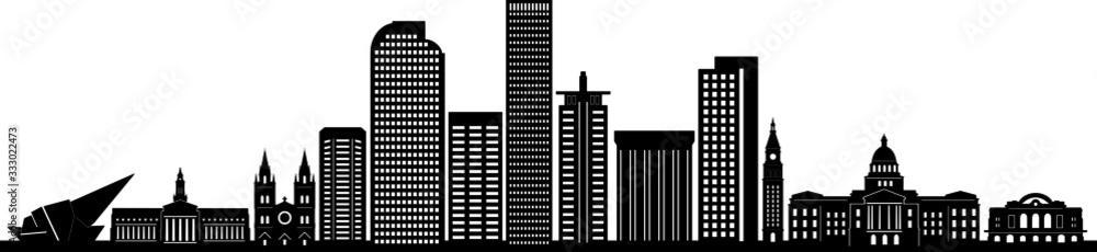 Fototapeta DENVER City Skyline Silhouette Cityscape Vector
