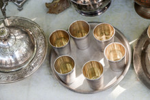 Old Copper Goblets On Tray
