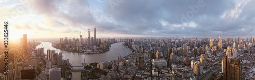 Sunrise landmark panorama of Shanghai - 333025446