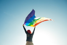 Woman Holding The Gay Rainbow ...