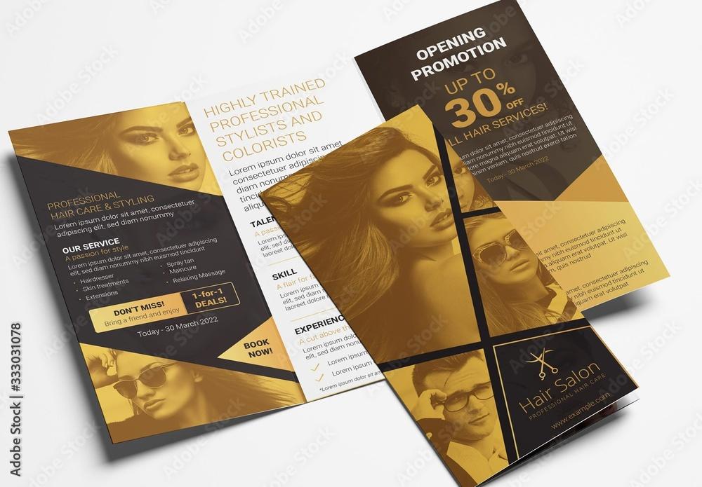 Fototapeta Black and Gold Trifold Brochure Layout