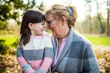 Cute Girl Smiling At Grandma I...