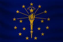 Waving Flag Of Indiana. Vector...