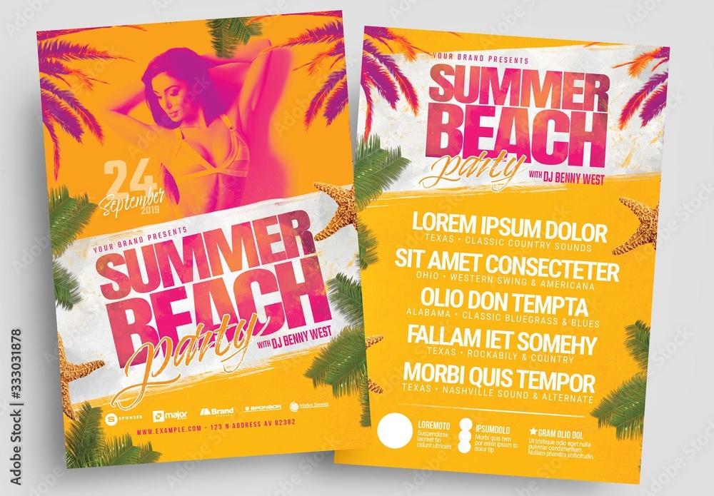 Fototapeta Summer Beach Party Flyer Layout