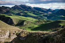 Beautiful Landscape Of Green Mountains And Sheep In Hawke's Bay, New Zealand